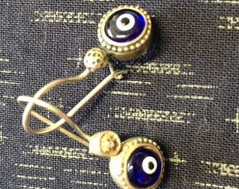 Silver french back amulet earrings
