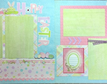 Hoppy Easter-scrapbook page kit, premade scrapbook kit, 12x12 premade page kit, premade scrapbook pages, 12x12 scrapbook layout