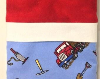"""Travel/Toddler Flannel Pillowcase - """"Trucks & Dirt"""""""