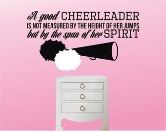 Inspirational Cheerleading Quote Pom Poms and Megaphone Wall Decal Wall Decor