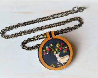 Beautiful Buck Mini Embroidery Hoop Necklace