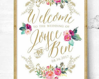 wedding sign - wedding entrance sign - wedding reception - wedding welcome sign - wedding art print - vintage wedding sign - reception sign