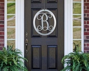 """24"""" Oval- Metal-Monogram Door Hanger- Letter B- Chrome- Front Door Wreath- Monogram Door Hanger-"""