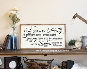 Serenity sign, Serenity prayer sign, framed sign, framed wood sign, home and living, home decor, wall decor, wall hangings, signs