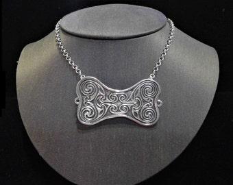 STERLING Irish spiral pendant/brooch, Celtic symbol, Irish brooch, spiral necklace, Irish jewelry, Viking Triskele, Necklace & Brooch Combo