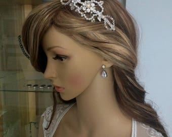 Bridal Side TIARA, Art Deco wedding headband, vintage flower headdress clear Swarovski crystal pearl rhinestone wedding hair accessory