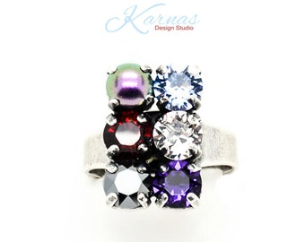 DISCO 6mm 29ss 3 Row Crystal & Pearl Adjustable Ring Made With Swarovski Crystal *Antique Silver *Karnas Design Studio© *Free Shipping*