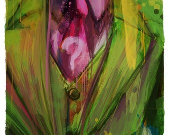 "Gotham's Worst The Riddler Abstract Art Print, 13"" x 19"""