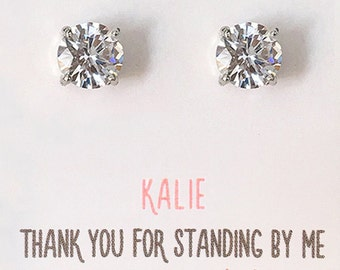 Bridesmaid Earrings, Silver Crystal Stud Earrings, Wedding Party Jewelry Gifts, Bridesmaid Earrings, Cubic Zirconia Studs E168S_ 6MM-S