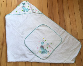 Vintage 1950s Baby Infant Sleeptite Terry Cloth Hooded Bath Towel Wash Cloth Set!