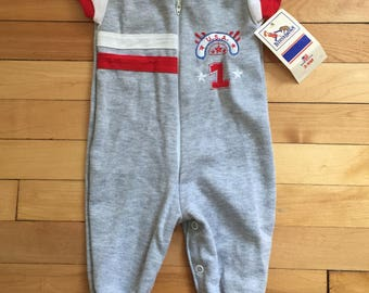 Vintage 1980s Baby Infant Boys Grey Buster Brown One Piece Sports Outfit Romper! Size 3-6 months