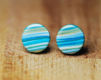 Hypoallergenic Stud Earrings - Polymer Clay Fimo Earrings - Earrings For Sensitive Ears - Round Stud Earrings - Handmade Gift For Her