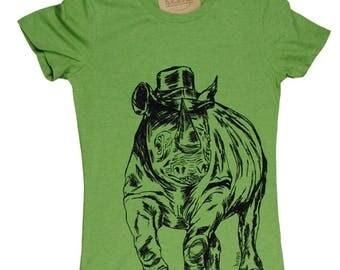 Graphic Tee Shirts for Women - Rhino Tshirt - Green Tee - Womens Funny Tshirt - Trendy Womens Clothing - African Animals S M L XL XXL