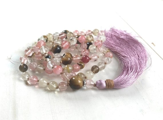 Quartz Knotted Mala Beads, Tiger Eye Mala, Tassel Knotted Mala Necklace, Cherry Quartz Mala, Unique Mala Beads, Yoga Mala Beads