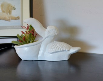 Pelican Planter. Pelican Candy Dish. Beach Decor. Coastal Decor. Bird Decor. Nursery Decor. Bathroom Decor. Cast Iron Pelican