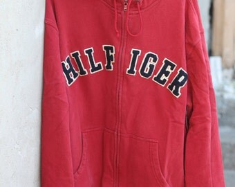 Tommy Hilfiger Classic Campus Zip-Up Hoodie in Red/Navy