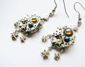 Steampunk Vintage Watch Movement Earrings with Stars, Steampunk Earrings, Watch Movement Earrings, Watch Earrings, Watch Star Earrings ERG81
