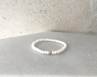 Small Ivory White Stretch Bracelet
