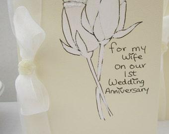 1st Wedding Anniversary, anniversary card, wife card, husband card, hand painted card, 1st anniversary, first anniversary, handmade card