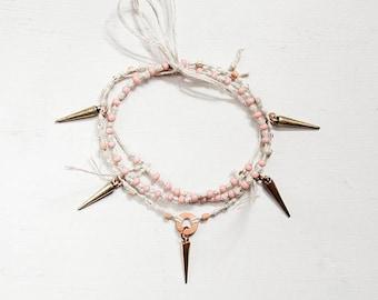 Wraparound spike anklet, Pink glass, beaded hemp, adjustable anklet, convertible bracelet, body jewellery, boho jewelry gift, christmas