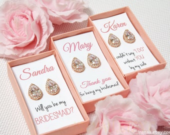 Rose gold bridesmaid earrings, personalized bridesmaid gift set of 3 4 5 6 7 8 9 set of 10 11 12 teardrop stud CZ Wedding earrings tear drop