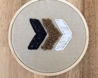 Chevron arrows hand embroidered hoop, hoop art