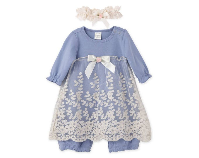 SUMMER SPECIAL! Baby Girl Lace Dress, Newborn Girl Outfit, Baby Girl Skirted Romper Blue Lace, Baby Girl Blue Romper TesaBabe RH54LLBIY0000