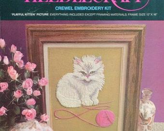 Started Kit 1970s Playful Kitten 12 x 16 Avon Crewel Embroidery Kit