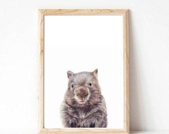 wombat print, wombat, australian animal, baby shower gift, woodland nursery art, nursery art ideas, forest nursery, forest animals