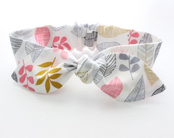 Organic leaves baby girl headband, organic kids clothing, organic baby headband, organic baby headwrap, 100% organic cotton fabric headband