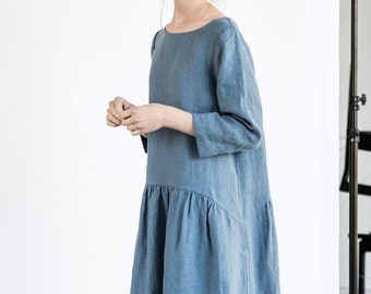 Linen dress with sleeves and DROP SIDES / Washed and soft linen dress in petrol blue