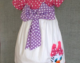 Daisy duck baby cotton dress, Cake smash dress, First birthday dress, Pink and purple baby polka dot dress, Applique dress, Baby Girl Dress