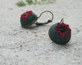 Deep green and bordeaux flower earrings,  Handsculpted polymer clay earrings, brown swarovski, antique bronze