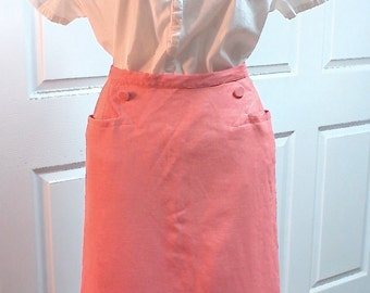 Vintage 1950s Saks Fifth Avenue Peach Pencil Skirt Peach Colored Skirt