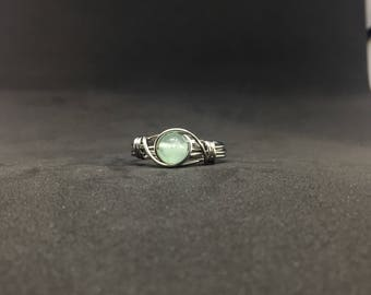Green Fluorite Wire Wrapped Ring