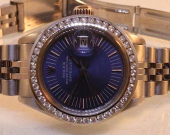 Ladies Rolex Stainless Steel Blue Dial