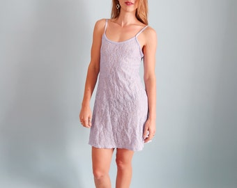 Pretty Lilac/Periwinkle 90s Lace Mini Dress