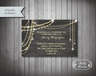 great gatsby inspired bachelorette party invitation 1920s theme party invite art deco invitation - Gatsby Party Invitation