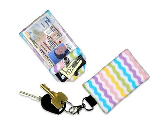 Pastel Chevron Mini Wallet Card Holder Keychain Clear ID Holder Small Wallet ID Wallet Minimalist Wallet Student ID Badge Credit Card Wallet