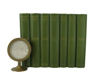 Antique Books for Interior Design and Home Decor,  Green decorative books, , Book Decor, Book Wedding, Old Books, Decorating, Thackeray