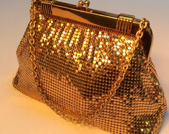 Whiting & Davis Co. Vintage Gold Mesh Bag, Made in the USA., Vintage Evening Bag, Mid-Century Purse, Chain Handle, Mesh Bag