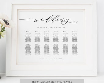 Wedding seating chart printable wedding seating chart poster template DIY. 'wedding'. A2 or 18x24 size | DIY template | Word or Pages