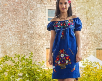 Mexican off the shoulder mini dress hand embroidered - Royal Blue 100% cotton (manta)