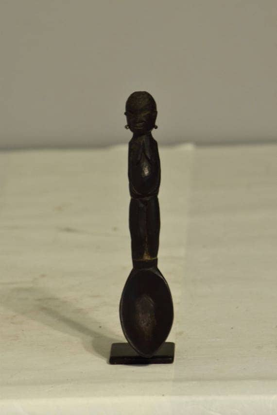 Ifugao Bulu Rice Spoon Wood Philippines Handmade Ceremonial Rice Eating Serving Figurative Ifugao Spoon