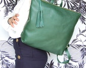 Laptop Leather backpack for women, leather laptop school bag, women's backpack, green leather bag, back to school backpack