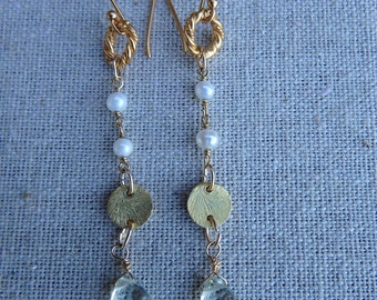 Green Amethyst and Pearl Earrings/Free Shipping