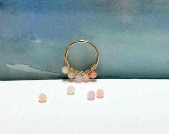 Natural Pink Opal 5 Beads 2mm Helix Ring- Silver Cartilage Piercing- Tiny Gold Hoop-16-24 Gauge-7-12mm Inner Diameter