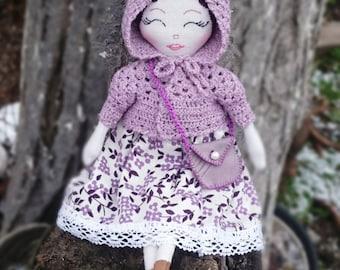 Cloth art doll With Wardrobe OOAK doll Rag doll Diana of Green Gables doll Heirloom Doll