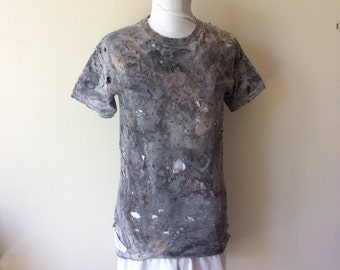 Men's Post Apocalyptic Painted & Distressed Short Sleeve Cotton Wastelander Wasteland T-Shirt Wastelander Apocalyptic Costume Cosplay