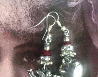 Cherub earrings, Assemblage earrings, Heart earrings, Silver cherub earrings, handmade earrings, Silver angel earrings, Neo Victorian, Cupid